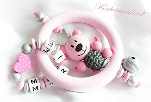 Baby Greifling / Rassel mit Namen - Mädchen - Wunschnamen (Rosa, Grau, Teddy)