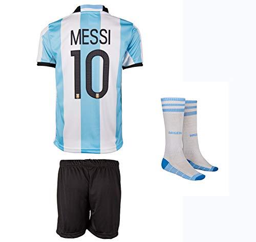 Argentinien Messi # 10 Heim Trikot und Shorts mit Socken Kinder und Jugend Größe
