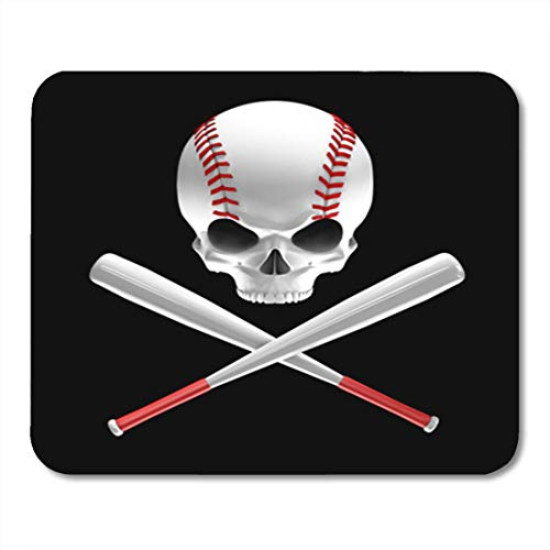 Red Skull Baseball (Gaming Mauspad Red America Baseball Skull and Bats 3D of Shaped Crossed 11.8