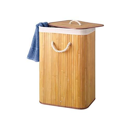 Perel HP100203 Panier à linge, coffre à linge - Bambou Naturelle avec couvercle et sac à ligne