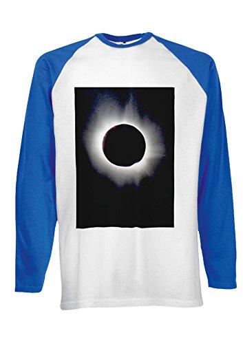 Eclipse Dark Side Moon Space Novelty Black/White Men Women Damen Herren Langarm Unisex Baseball T Shirt Verschiedene Farben Blau