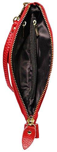 Kukubird Premium Lucida In Vera Pelle Superiore Singolo Zip Con Cinturino Handle Portafoglio Portamonete Donna Clutch Black
