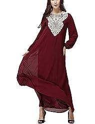 BYD Mujeres Elegant Vestido de Musulmán Árabe Túnica Manga Larga Largos Vestidos