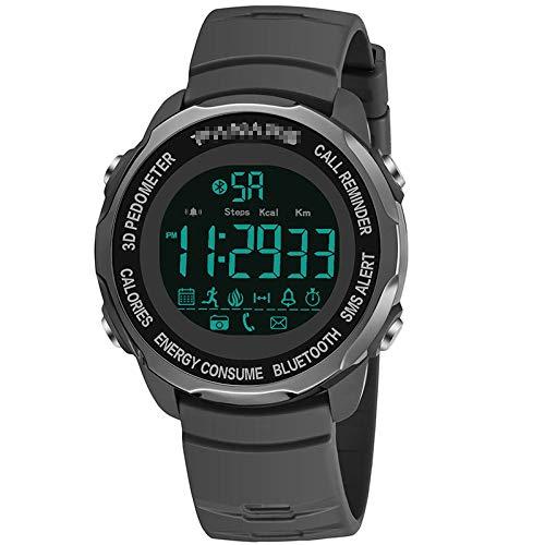 QAL Schrittzähler Elektronische Uhr, Wasserdichte Intelligente Uhr Anruferinnerungssport-Männeruhr Bluetooth-Kamerauhr,Grey-OneSize