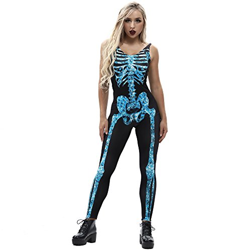 Kostüm Second Skin Billig - URVIP Damen-Skelett Knochen Punk Sexy Strampler Skelett Body Anzug Kostüm BEM-002 XL