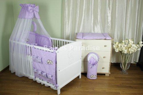 Baby Bettwäsche Set mit Applikation karriert (5 tlg, Lila)
