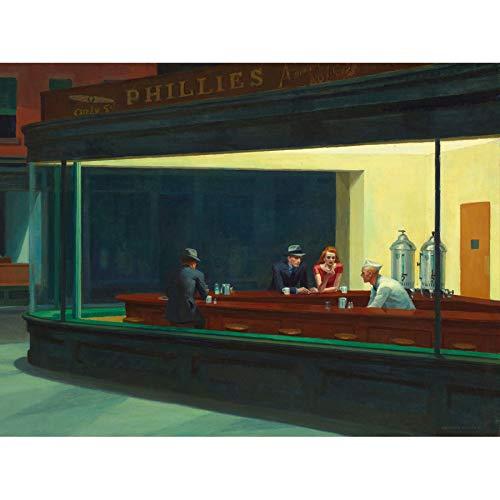 Edward Hopper Nighthawks Iconic Painting Art Print Canvas Premium Wall Decor Poster Mural Nacht Malerei Wand Deko -