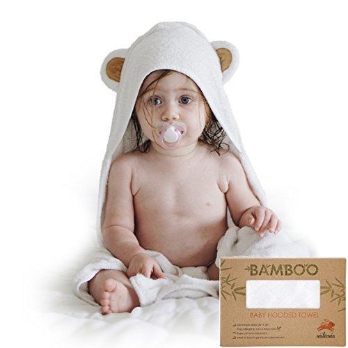 Asciugamani con Cappuccio Extra Morbido in Rayon da Bamboo | Super Assorbente e Ipoallergenico | Su Misura per Infanti e Neonati Natemia