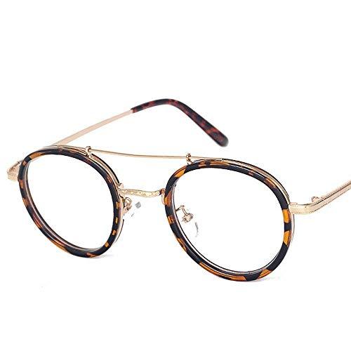 UICICI Mädchen Mode Runde Metall Myopie Brillengestell Optische Brillen Nicht verschreibungspflichtige Brillengestell für Frauen (Farbe : Leopard)