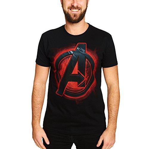 Elbenwald Avengers Herren T-Shirt Logo Marvel Baumwolle Schwarz - L - Shield Geschmack