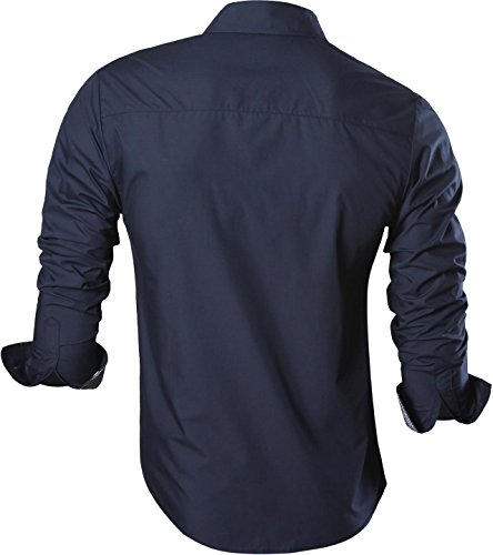 jeansian Herren Freizeit Hemden Shirt Tops Mode Langarmshirts Slim Fit 8558 Navy