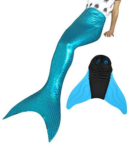 Likeep Meerjungfrauenschwanz Ⅱ Zum Schwimmen mit Verbesserten Flosse und Schönere Mermaidens Meerjungfrauenschwanz - Mädchentraum (Oceanblue, 130-140, Kinder 12)