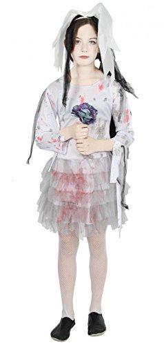 Foxxeo 40263 I Brautkleid Zombie Geisterbraut Kinder weiß grau blutig Teen Halloween Horror,...