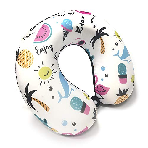 Neck Pillow for Travel Memory Foam, Travel Pillow Neck Rest, Neck Pillow for Flight Travel with Washable Cover Beach Design