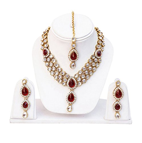 Shining Diva Red Kundan Traditional Necklace Jewellery Set with Earrings for Women