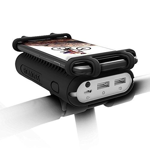 Romoss Fahrrad Handyhalterung mit Powerbank, 10000mAh Externer Akku mit Taschenlampe für 4-5,5 Zoll Smartphone Kompatibel für Rennrad, Fahrradfahren, Mountainbike, Motorrad und Motorroller