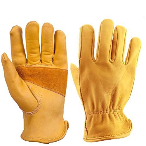 MHGLOVES Leder-Arbeitshandschuhe, pannensichere Outdoor-Arbeitshandschuhe, Leder-Gartenhandschuhe mit Handgelenk für Männer und Frauen (mittel),S