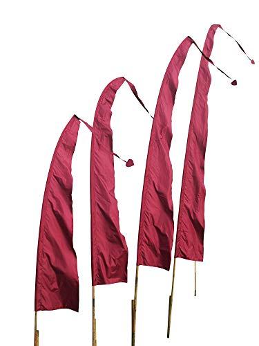 DEKOVALENZ Balifahnen-Stoff SANUR |mit herzförmiger Spitze | Umbul Asien-Fahnen | Fahnenlänge: 3 Meter | Farbe: Kirschrot