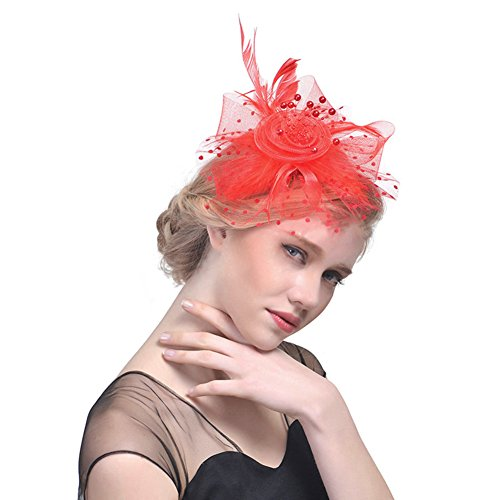Flower Cocktail Tea Party Headwear Feather Fascinating Top Net Hat Perfect For Special Fancy Event, Weddings, Party and Engagement