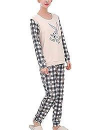 155547bc Mujer Ropa De Dormir Esencial s Anchas Cómodo Ocasional Pijamas Mujer  Pantalones De Pijama Manga Larga Cuello…