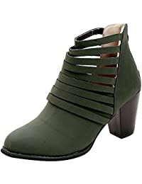 7ee374ebe OHQ Zapatos Individuales Botas Mujeres Vitage Mujer OtoñO Zapatos  Cremallera Tobillo Punta Redonda Roma Botas Cortas