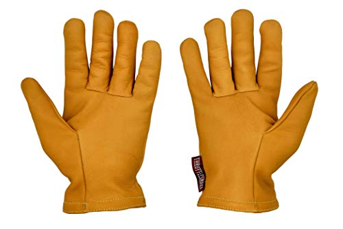 Guantes de Cuero Vintage para Moto con Kevlar Amarillo Mostaza † THROTTLESNAKE - GLOVE TROTTER † Mustard Yellow Old School Motorcycle Leather & Kevlar Gloves (M)