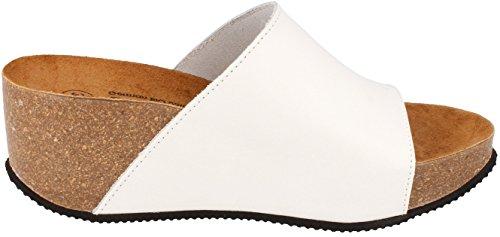 BOnova® Engage aus Echtleder in 3 Farben, Pantoletten - Sandalen mit Keilabsatz - HANDMADE IN SPAIN Weiß