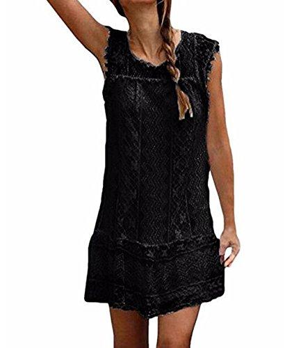DINGANG® Damen Sommer Spitze Spleißen Kleid Rundhals Ärmelloses Beiläufige Party Strandkleider Schwarz