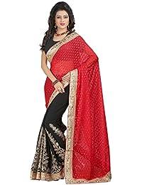 Sharnam Sarees Georgette Saree (Ranjhana_Red_Black_Multi-Coloured)