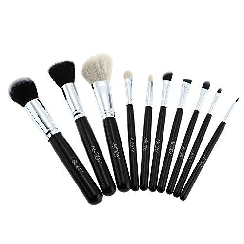 Abody 10Pcs Maquillage pinceaux Kit en bois poignée brosses cosmétiques Set ultra-fin Fibre chèvre cheveux pinceaux de maquillage professionnel+ housse sac pochette