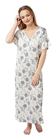 Ladies Long Plus Size Jersey Nightshirt in 2 Prints. Sizes 18-20 22-24 26-28 (26-28, IVORY)