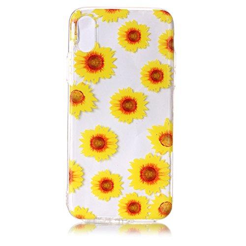 iPhone X Custodia, SportFun Slim Flexible TPU Silicone Custodia Protettiva Caso iPhone X Case (Kranich) Chrysantheme
