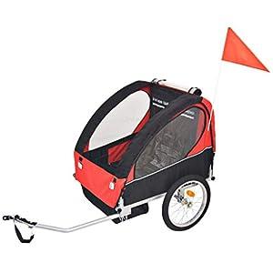 Roderick Irving Fahrradanhänger Kinder Fahrradanhänger rot und schwarz 30 kg Fahrradanhänger Sitzfachmaße: 62 x 72 x 61…