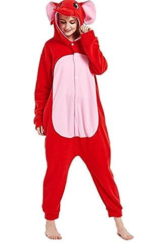 Honeystore Unisex Elefant Kostüm Erwachsene Tier Jumpsuits Onesie Pyjamas Nachthemd Nachtwäsche Cosplay Overall Hausanzug Fastnachtskostüm Karnevalskostüme Faschingskostüm Kapuzenkostüm Rot (Einfache Gruppe Kostüm-ideen Für Erwachsene)