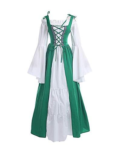 Donna Vintage Rinascimentale Medievale Costume Abito Vestito Gotico Fancy Cosplay Verde M
