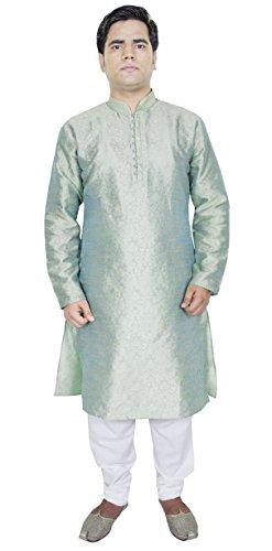 Abbigliamento Kurta pigiama partito uomini di usura etnica indiana vestiti verde chiaro Taglia L