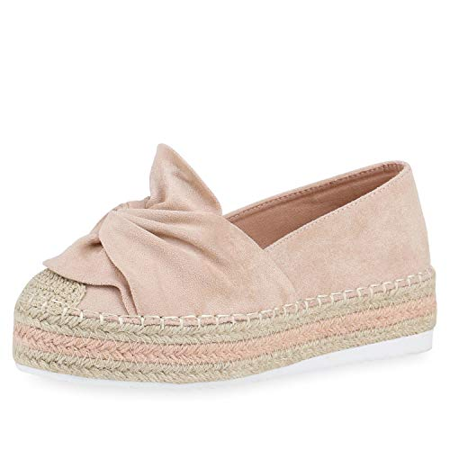 SCARPE VITA Damen Plateau Slipper Bast Espadrilles Wildleder-Optik Slip On Schuhe Freizeit Plateauschuhe Profilsohle 176262 Rosa 40 - Wildleder-espadrilles