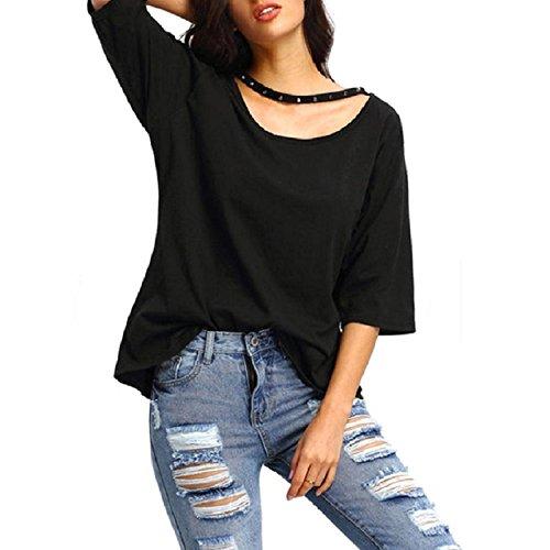 Culater® Moda mujeres sueltan la media manga de la blusa de las tapas ocasionales de la (L, Negro)