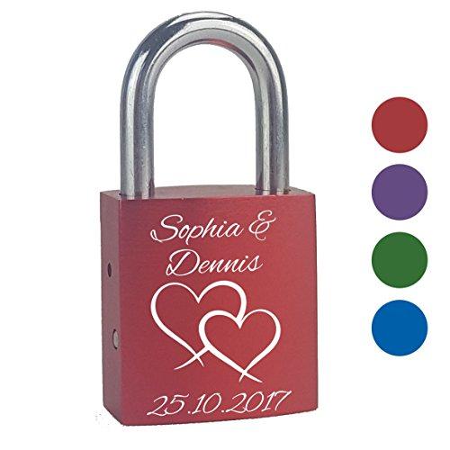 Liebesschloss mit personalisierter Gravur Doppelherz individuell graviert mit Namen und Datum zum Valentinstag Hochzeit Geschenk für Paare Liebe Partnerschaft [einseitig graviert]