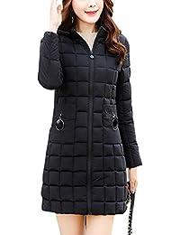 QitunC Mujer Largo Abrigo de Plumas Delgado Cálido Chaqueta Acolchado Parka Abajo Outwear con Capucha Armada
