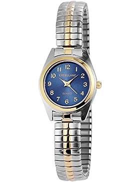 Excellanc Damen analog Armbanduhr mit Quarzwerk 170016000026 Metallgehäuse mit Metallzugband in Bicolor und Ziffernblattfarbe...