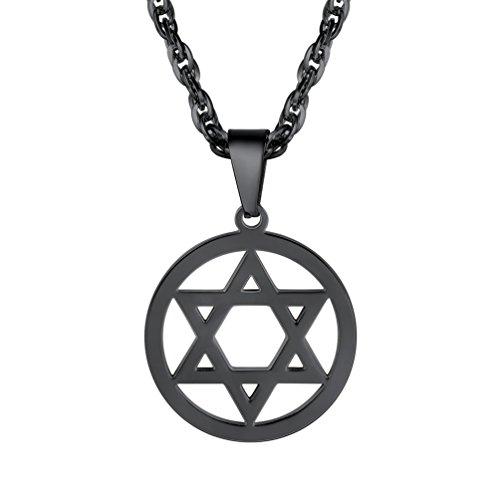 PROSTEEL Anhänger Halskette, Edelstahl Jüdischen Davidstern Anhänger Edelstahl Hexagramm Symbol des Judentums, mit 55cm Kette schwarz