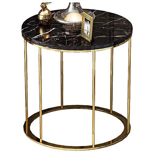 Salon Table Basse/côté canapé, mobilier créatif de Maison Moderne en marbre, Rond, Noir (50 × 50 × 55,5 cm)