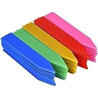 100 Stück 100 mm Kunststoff Pflanzenetiketten / Pflanzschilder /Pflanzen Etiketten mit Textmarker,Mehrfarbig