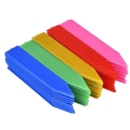 eBoot 100 Pezzi 100 mm Plastica Sementi delle Piante Etichette Stakes pot Marker Asilo Nido Giardino Palo con Evidenziatore, Multicolore