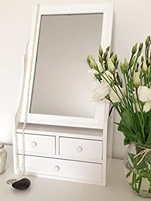 Dressing Table Mirror with Drawers in White - inexpensive UK light shop.