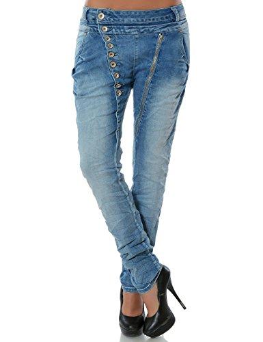 Damen Boyfriend Jeans Hose Reißverschluss Knopfleiste (weitere Farben) No 14145, Farbe:Hellblau;Größe:38 / M