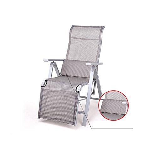 MUMA Deckchairs L-127 Klappbarer Lounge Sessel Liegestühle Siesta Bett Multifunktional Liegestühle Freizeitstuhl ( Farbe : Silber )
