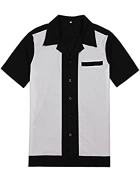 Candow Look uomini woekshirts black&white retro bowling shirts