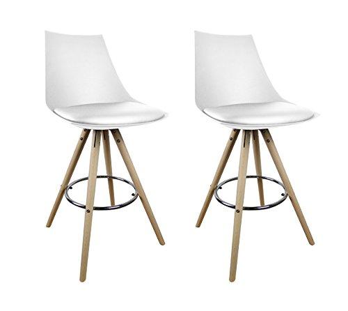 Meubletmoi Lot de 2 tabourets de Bar Blancs - chaises Hautes au Design Moderne - Assise Moelleuse et Pieds Bois hêtre Massif - Confortable et Robuste - Edy
